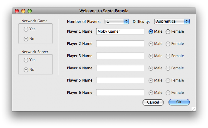 Santa Paravia and Fiumaccio Macintosh Setting up a new game.