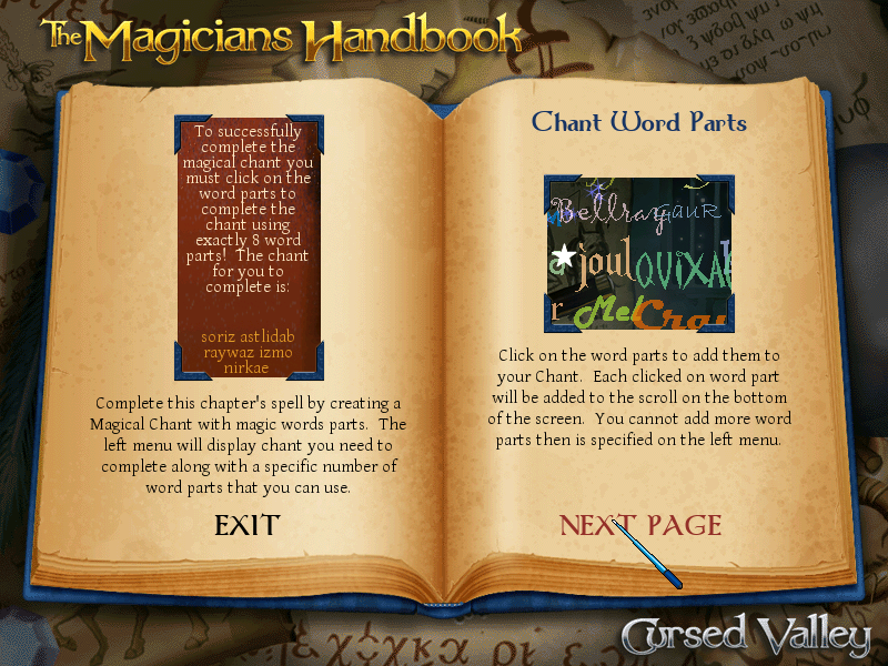 The Magician's Handbook: Cursed Valley Windows Magical chant instructions