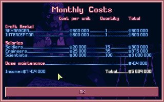 X-COM: UFO Defense DOS Monthly costs.