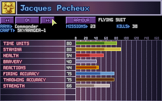 X-COM: UFO Defense DOS Soldier stats.