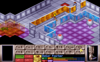 X-COM: UFO Defense DOS Exploring a UFO base.
