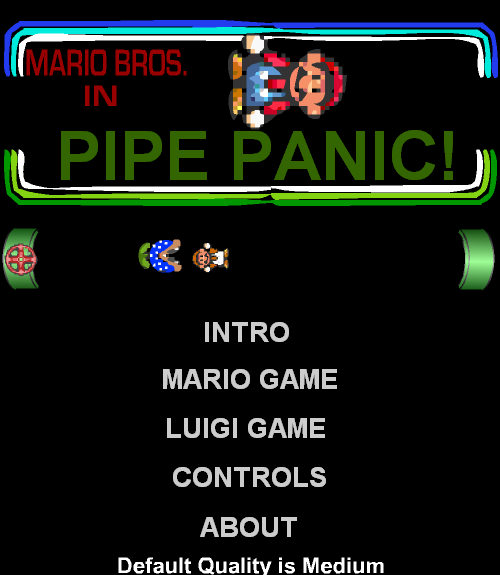 Mario Bros. in Pipe Panic Browser The title screen.