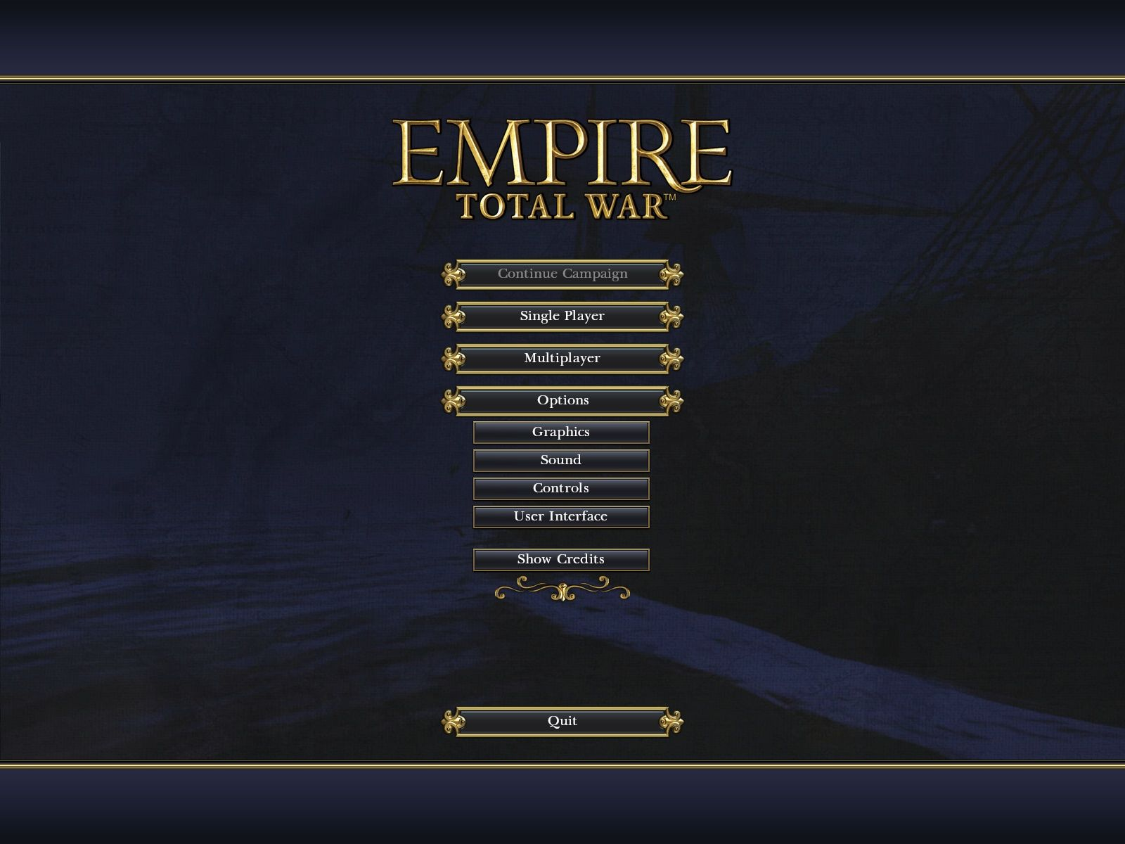Empire: Total War Windows Main menu