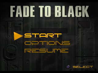 Fade to Black PlayStation Title screen.