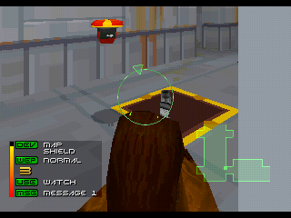 Fade to Black PlayStation Shooting at a security droid.