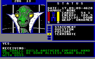 Starflight Commodore 64 Talking with a Thyrn.