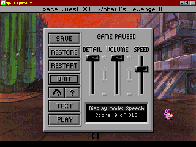 Space Quest IV: Roger Wilco and the Time Rippers Windows 3.x Game options menu