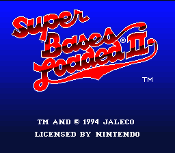 Super Bases Loaded 2 SNES Title screen