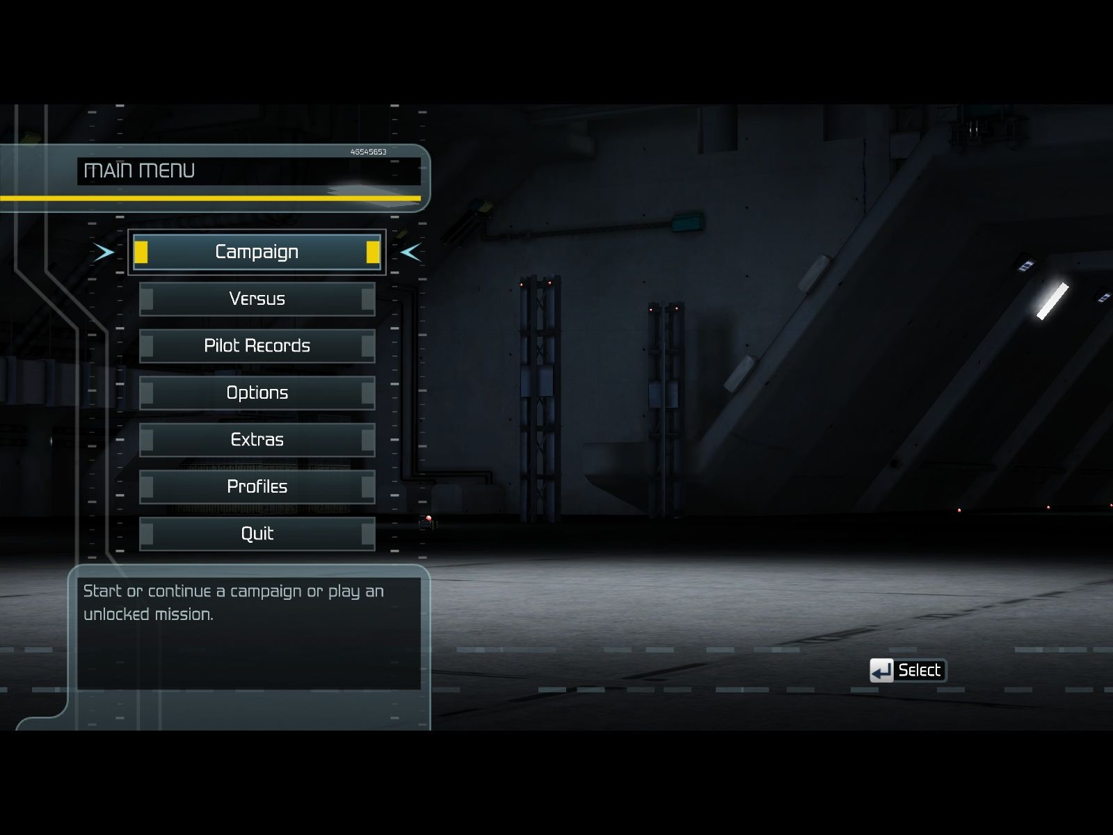 Tom Clancy's H.A.W.X Windows Main menu