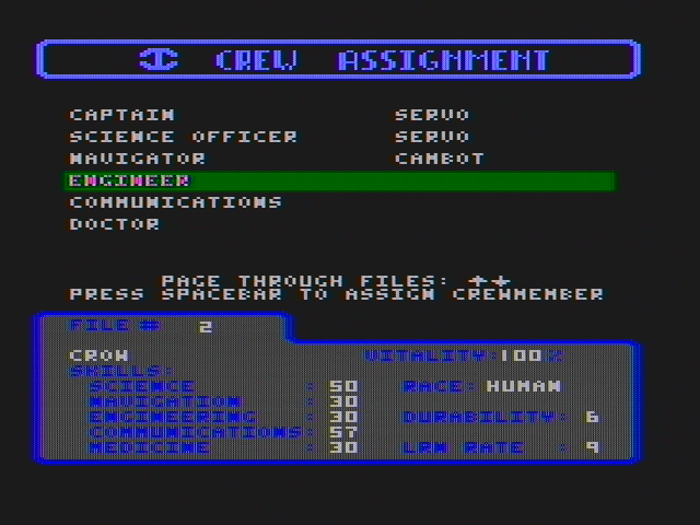 Starflight DOS Crew assignments (CGA with composite monitor)