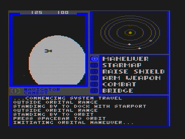 Starflight DOS Initiating an orbit... (CGA with composite monitor)