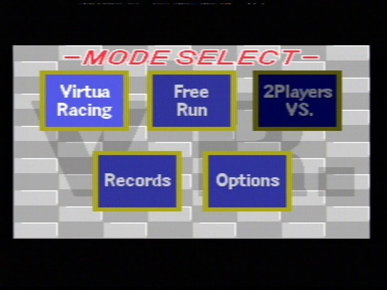 Virtua Racing Genesis Main Menu