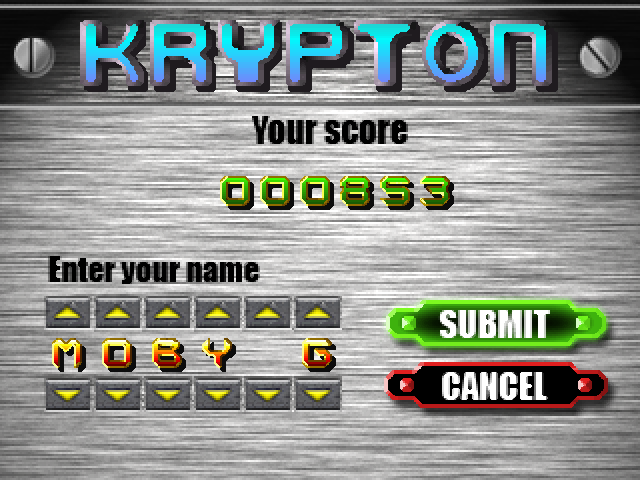 Krypton Egg Windows This game is so mouse dependant that your name has to be entered this way.