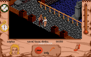 Indiana Jones and The Fate of Atlantis: The Action Game Atari ST Level 3 - Indy and Sophia are at the Nazi naval base docks.