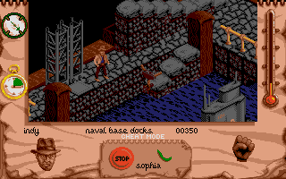 Indiana Jones and The Fate of Atlantis: The Action Game Atari ST Level 3 - Indy needs to hitch a ride on the Nazi sub.