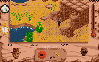 Indiana Jones and The Fate of Atlantis: The Action Game Atari ST Level 6 - Atlantis is going to explode. Indy and Sophia need to escape the island.
