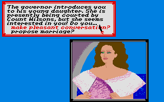 Sid Meier's Pirates! Atari ST Talking with a governor's daughter.