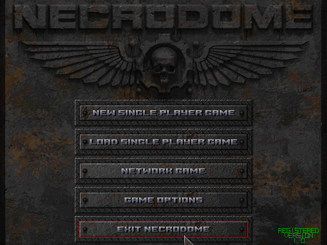 Necrodome Windows Title screen and main menu