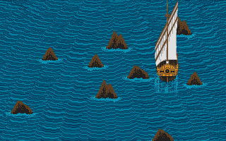 Sinbad and the Throne of the Falcon Atari ST Sailing through rough seas in this arcade sequence.