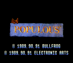 Populous SNES Title screen and copyright