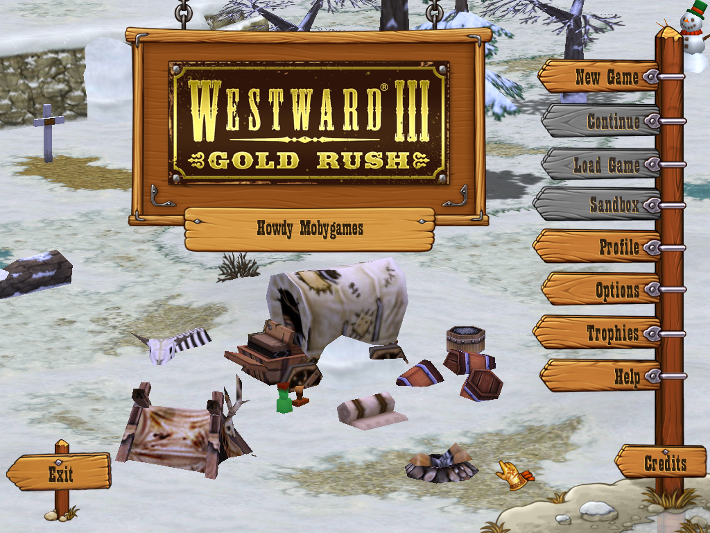 Westward III: Gold Rush Windows Main menu