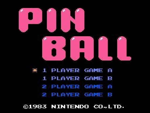 Pinball NES Title screen
