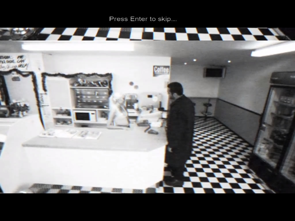 Casebook: Episode I - Kidnapped Windows Viewed through the restaurant's security camera.
