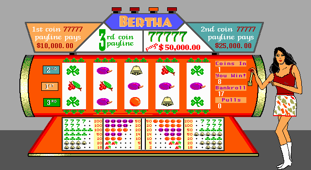 The Las Vegas EGA Casino (Version 2.0) DOS I got three grapes on the center row - that means I won eight coins!
