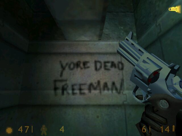 Half-Life Windows Spray-painted threats left by the marines. Their in-game AI is particularly remarkable considering their poor spelling