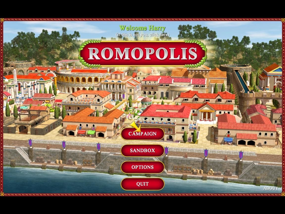 Romopolis Windows Title screen and main menu