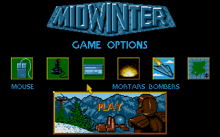 Midwinter Atari ST Main options menu.