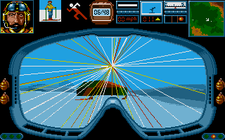 Midwinter Atari ST Throwing a grenade at an enemy snowmobile.