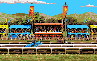 Defender of the Crown Apple IIgs Side view of jousting.