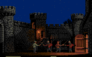 Defender of the Crown Apple IIgs Sword fighting in the courtyard of a castle.