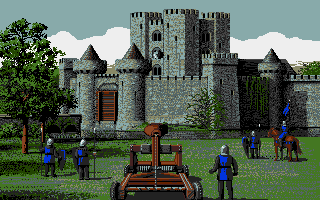 Defender of the Crown Apple IIgs Using the catapult on the enemy castle.