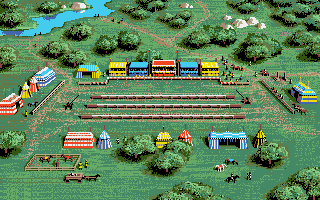 Defender of the Crown Apple IIgs Overview of the jousting field.