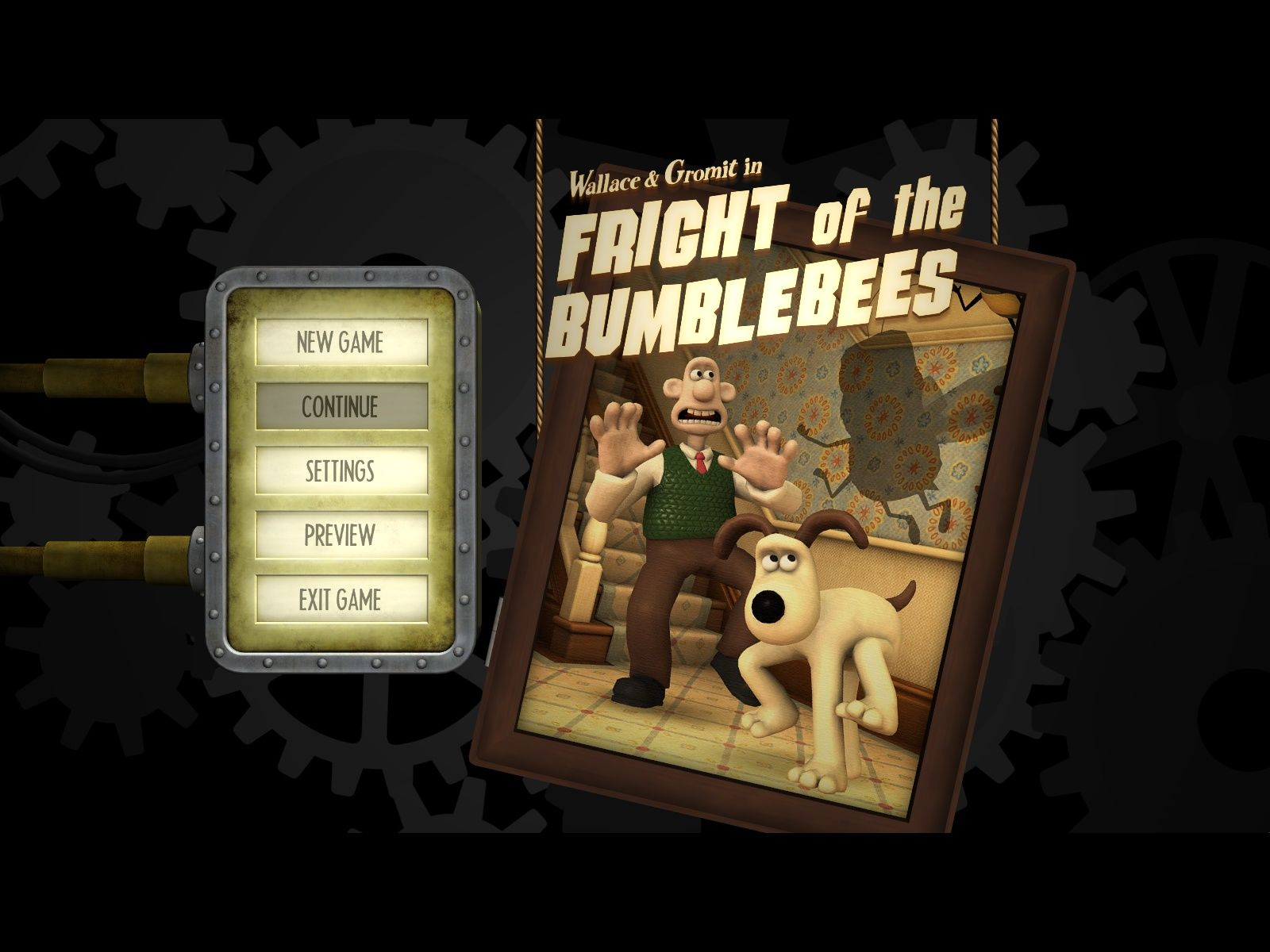 Wallace & Gromit in Fright of the Bumblebees Windows Main Menu