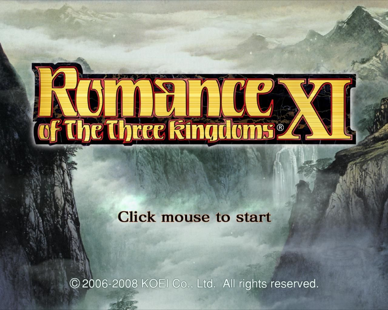Romance of the Three Kingdoms XI Windows Main Menu - Something you'd expect to see from a console game.