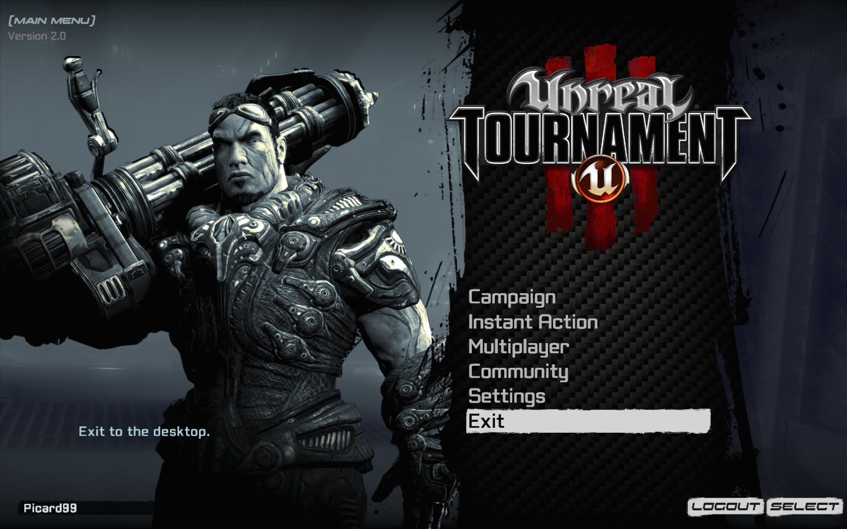 Unreal Tournament III Windows Main menu (version 2.0).