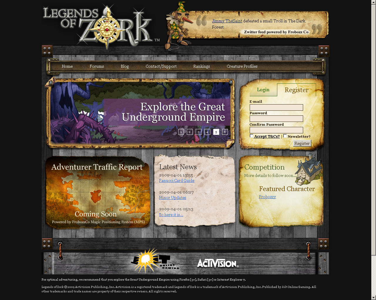 Legends of Zork Browser Start screen
