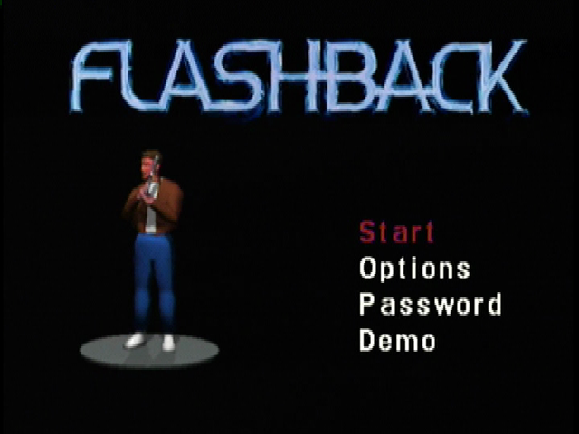 Flashback: The Quest for Identity 3DO The main menu has a rotating model of Conrad.