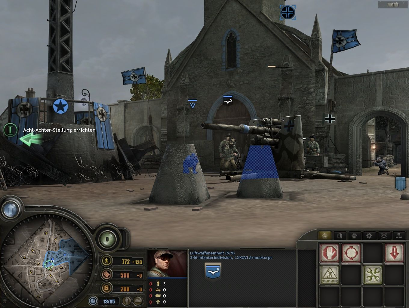Company of Heroes: Tales of Valor Windows Placing a canon in front of the church to defend against tanks.