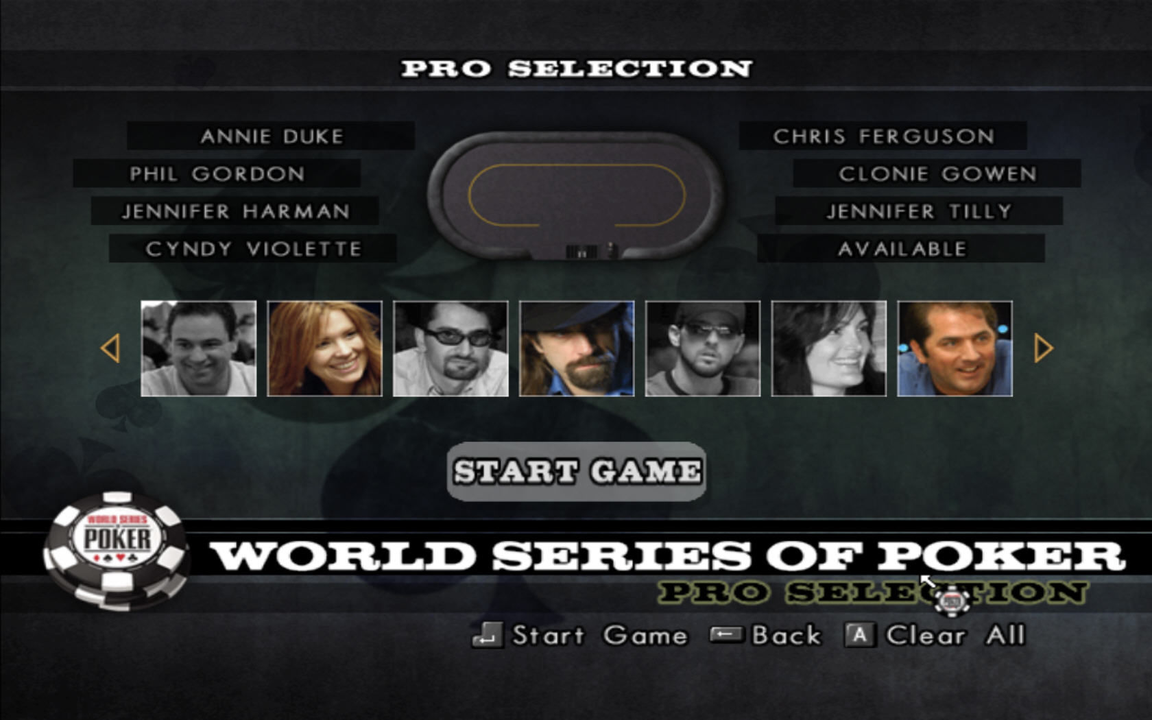 World Series of Poker 2008: Battle for the Bracelets Windows Pro selection screen.