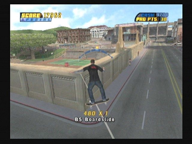 Tony Hawk's Pro Skater 4 GameCube The power lines give a nice view of the college level