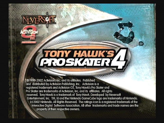 Tony Hawk's Pro Skater 4 GameCube Title screen