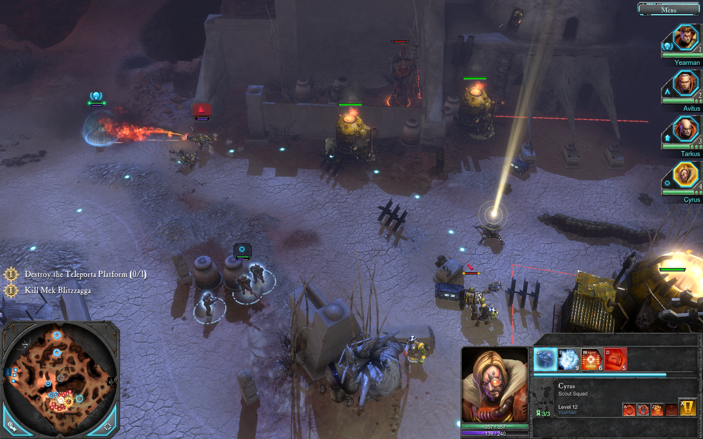 Warhammer 40,000: Dawn of War II Windows Cyrus and his squad are using stealth mode to infiltrate the Orc base.