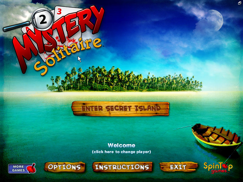 Mystery Solitaire: Secret Island Windows Title screen and menu