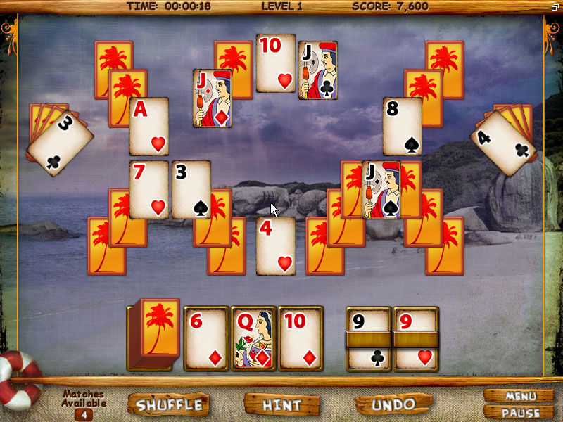 Mystery Solitaire: Secret Island Windows Solitaire in play