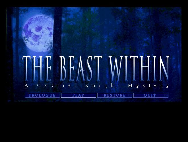 The Beast Within: A Gabriel Knight Mystery Windows Title Screen