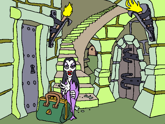 Gahan Wilsonu0026#x27;s The Ultimate Haunted House Windows 3.x Staircase
